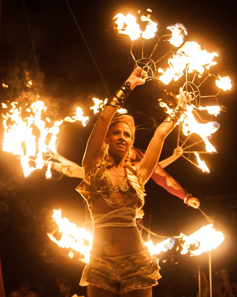 Symbiosis Gathering 2015: A huge festival for all of the Bay Area specifically San Francisco, Oakland, Berkley, and Sacramento. Love in the Fire performed their fire contact staff duet, dragon staff piece, and a fully choreographed fire fan piece with member of the Pyronauts fire troupe