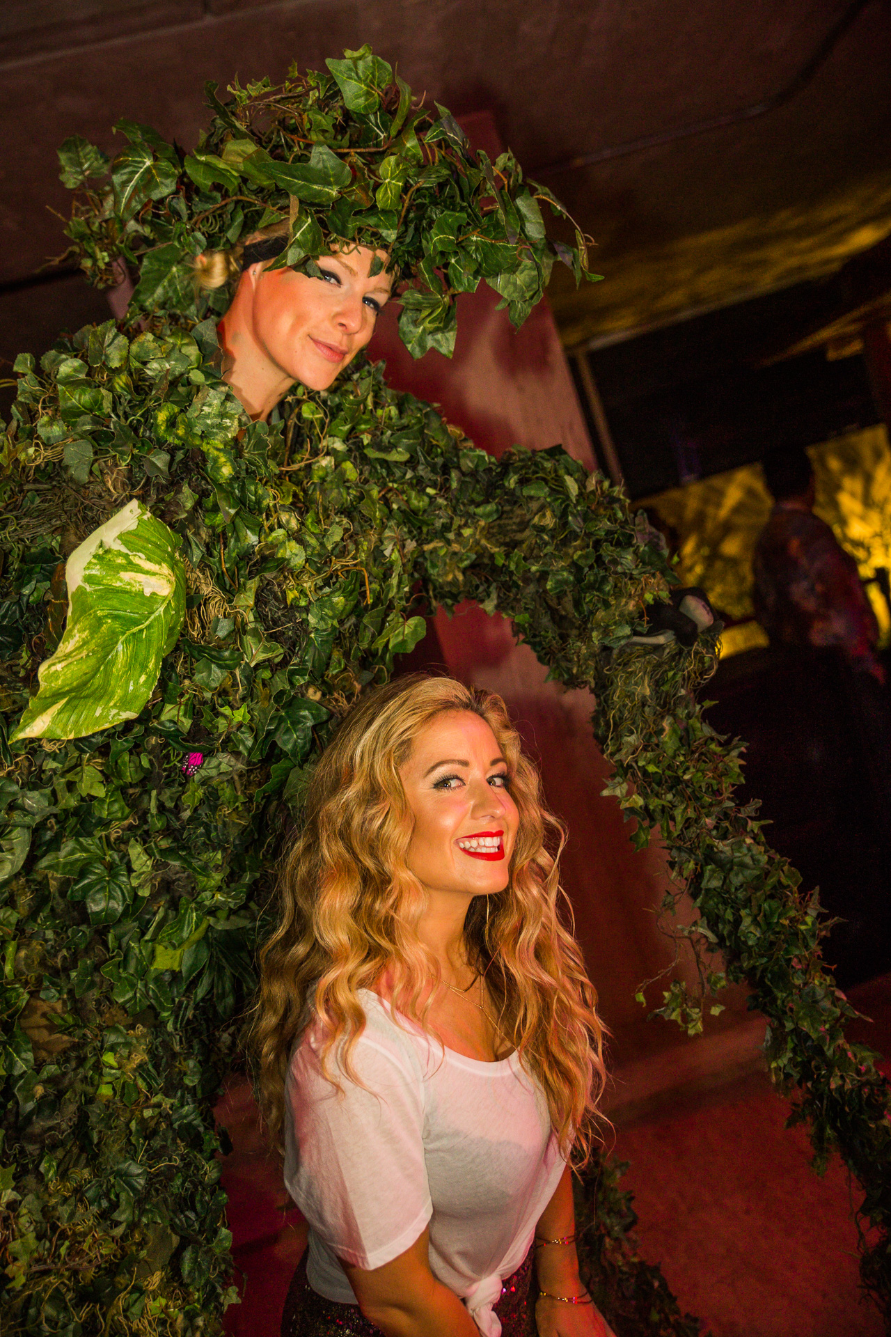 Stilt Walking tree and vines at the Thompson hotel in playa del carmen Mexico