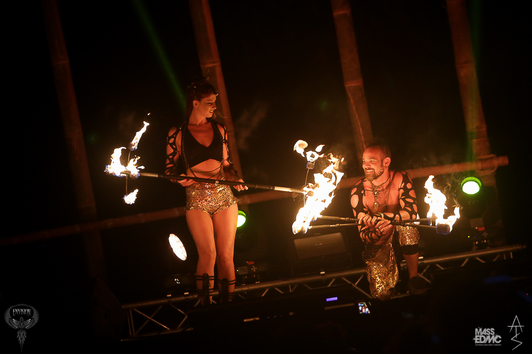 Lester and Samantha of Love in the Fire performing their fire dancing duet at Envision Festival fire dance Costa Rica