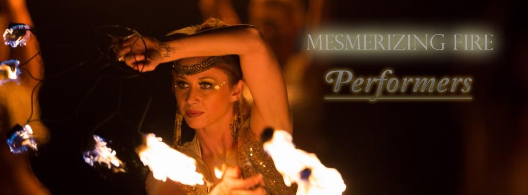 New York Beautiful female fire performer fire dance